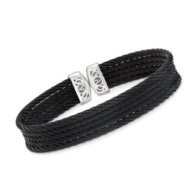 "ALOR ""Noir"" Black Multi-Strand Stainless Steel Cable Cuff"