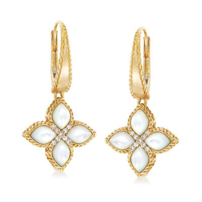 "Roberto Coin ""Venetian Princess"" Mother-Of-Pearl Drop Earrings with Diamond Accents in 18kt Gold"