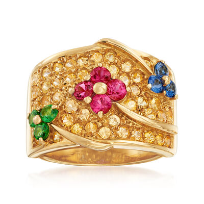 C. 1990 Vintage 2.35 ct. t.w. Multi-Stone Flower Ring in 18kt Yellow Gold, , default