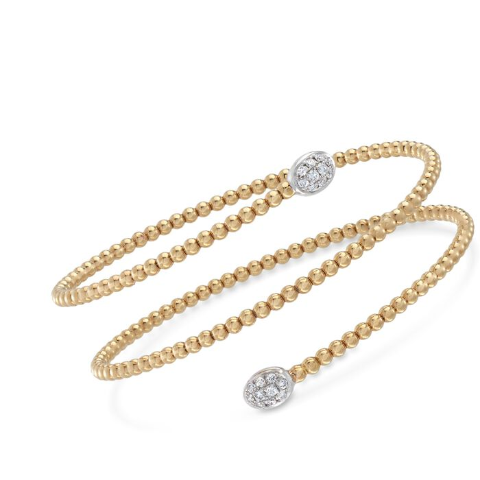 "Simon G. Classic Romance .27 Carat Total Weight Diamond Beaded Coil Bangle in 18-Karat Yellow Gold. 7"", , default"