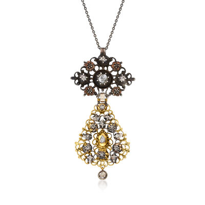 C. 1950 Vintage .85 ct. t.w. Diamond Fancy Pendant Necklace in Sterling Silver and 18kt Yellow Gold