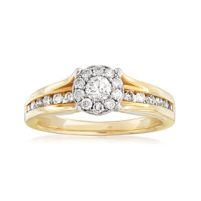 C. 1990 Vintage .75 ct. t.w. Diamond Cluster Ring in 14kt Yellow Gold, , default