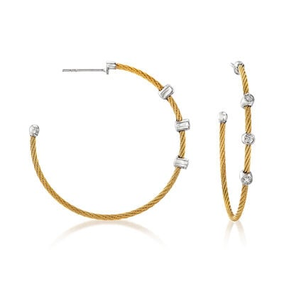 "ALOR ""Classique"" .12 ct. t.w. Diamond Yellow Stainless Steel Cable Hoop Earrings with 18kt White Gold, , default"