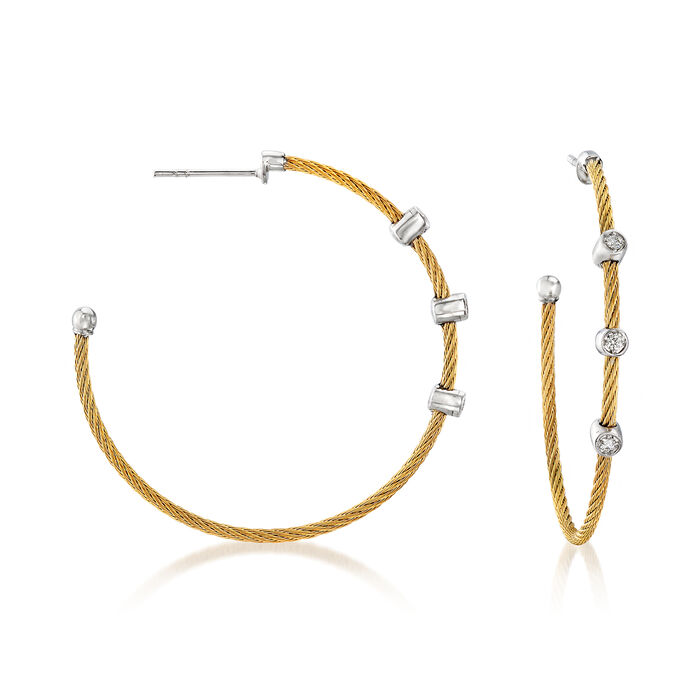 "ALOR ""Classique"" .12 ct. t.w. Diamond Yellow Stainless Steel Cable Hoop Earrings with 18kt White Gold. 1 5/8"", , default"