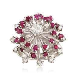C. 1970 Vintage .85 ct. t.w. Ruby and .70 ct. t.w. Diamond Spray Cluster Ring in 14kt White Gold, , default