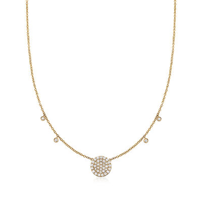 Gabriel Designs .40 ct. t.w. Diamond Circle Station Necklace in 14kt Yellow Gold, , default