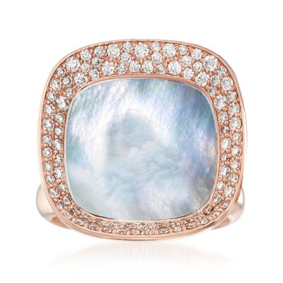 "Roberto Coin ""Carnaby Street"" .65 ct. t.w. Diamond and Mother-Of-Pearl Ring in 18kt Rose Gold, , default"