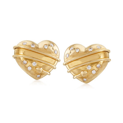 C. 1994 Vintage Tiffany Jewelry .25 ct. t.w. Diamond Heart Clip-On Earrings in 18kt Yellow Gold