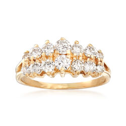 C. 1990 Vintage 1.00 ct. t.w. Diamond Graduated Two-Row Ring in 14kt Yellow Gold, , default