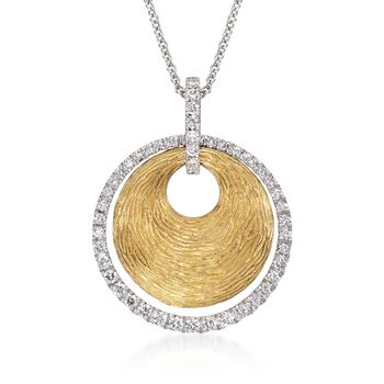 "Simon G .44 Carat Total Weight Diamond and 18-Karat Two-Tone Gold Disc Necklace. 18"", , default"