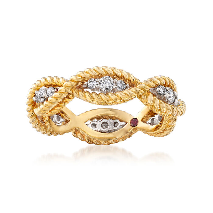 "Roberto Coin ""Barocco"" .46 ct. t.w. Diamond Roped Ring in 18kt Two-Tone Gold. Size 6.5, , default"