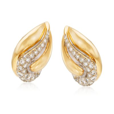 C. 1980 Vintage 1.50 ct. t.w. Diamond Teardrop Earrings in 18kt Yellow Gold