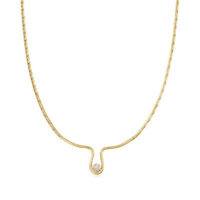C. 1975 Vintage .25 Carat Diamond Necklace in 14kt Yellow Gold