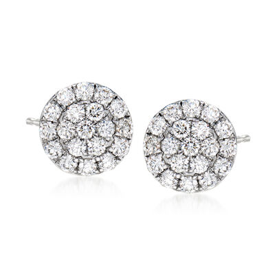 C. 1990 Vintage 1.10 ct. t.w. Diamond Cluster Earrings in 18kt White Gold