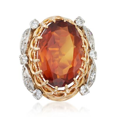 C. 1960 Vintage 11.50 Carat Citrine and 1.10 ct. t.w. Diamond Ring in 18kt Two-Tone Gold, , default