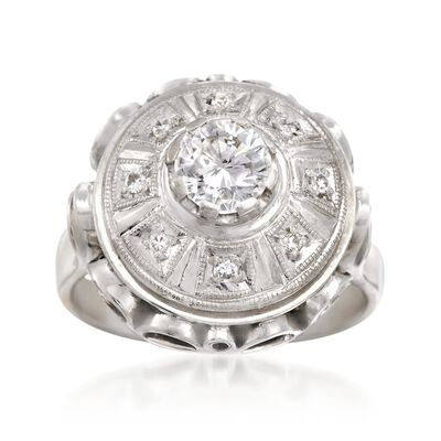 C. 1970 Vintage .68 ct. t.w. Diamond Openwork Dome Ring in 14kt White Gold, , default