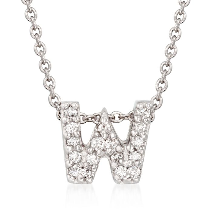 "Roberto Coin Tiny Treasures Diamond W Necklace in 18-Karat White Gold. 16"", , default"