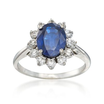 C. 1990 Vintage 2.35 Carat Sapphire and .50 ct. t.w. Diamond Ring in 18kt White Gold