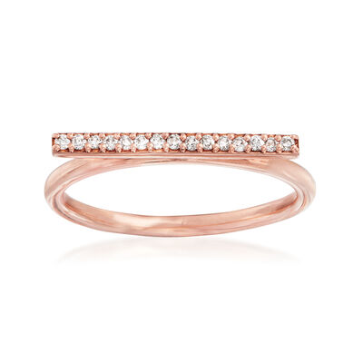 C. 1990 Vintage .12 ct. t.w. Diamond Horizontal Bar Ring in 14kt Rose Gold, , default