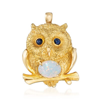 C. 1990 Vintage 9x7mm Opal and .38 ct. t.w. Sapphire Owl Pin/Pendant in 18kt Yellow Gold, , default
