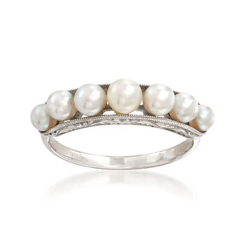 C. 1950 Vintage Cultured White Pearl Band Ring in 14kt White Gold. Size 5.5, , default