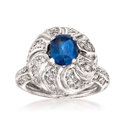 C. 1950 Vintage 1.30 Carat Sapphire and 1.00 ct. t.w. Diamond Dome Ring in Platinum