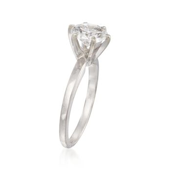 C. 2000 Vintage 1.35 Carat Diamond Solitaire Ring in 14kt White Gold. Size 5, , default
