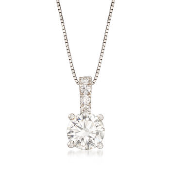 "1.05 ct. t.w. Diamond Pendant Necklace in 14kt White Gold. 18"", , default"