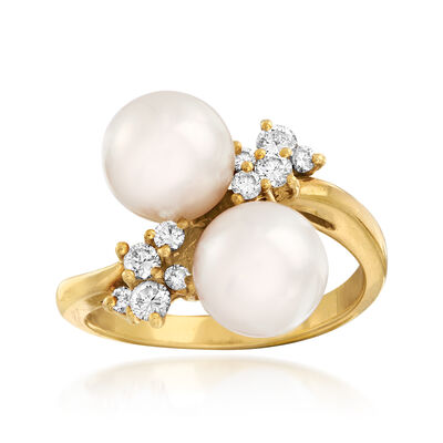 C. 1980 Vintage Cultured Pearl and .35 ct. t.w. Diamond Ring in 18kt Yellow Gold, , default