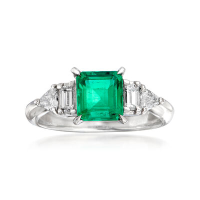 C. 2000 Vintage 1.04 Carat Emerald and .41 ct. t.w. Diamond Ring in Platinum, , default
