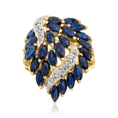 C. 1980 Vintage 5.00 ct. t.w. Sapphire Leaf Ring with Diamond Accents in 14kt Yellow Gold
