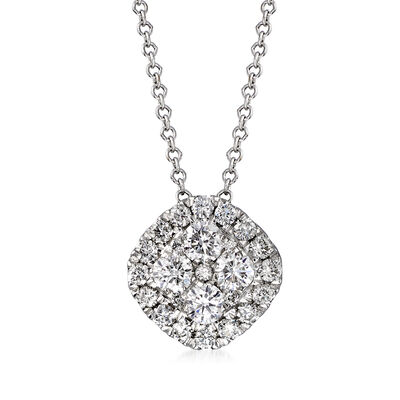 C. 1990 Vintage .75 ct. t.w. Diamond Cluster Necklace in 14kt White Gold
