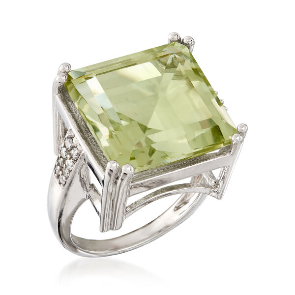 16.00 Carat Prasiolite and .19 ct. t.w. Diamond Ring in Sterling Silver. #893134