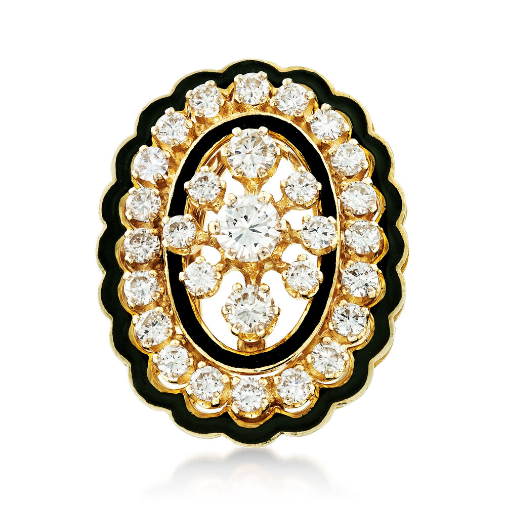 cda81f1cf21ba C. 1960 Vintage 2.05 ct. t.w. Diamond and Black Enamel Ring in 14kt Yellow  Gold. Size 6.5
