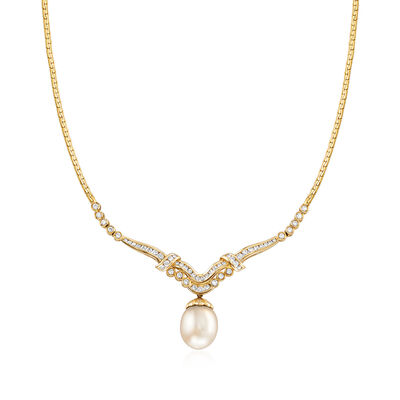 C. 1980 Vintage 15x12mm Cultured South Sea Pearl and 1.35 ct. t.w. Diamond Necklace in 18kt Yellow Gold, , default