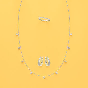 Italian .28 ct. t.w. Diamond Station Necklace in 14kt White Gold, , default