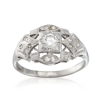 C. 1950 Vintage .45 ct. t.w. Diamond Ring in 14kt White Gold, , default