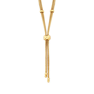 C. 1980 Vintage 18kt Yellow Gold Double Popcorn Chain Y-Necklace, , default