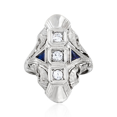 C. 1970 Vintage .25 ct. t.w. Diamond and .15 ct. t.w. Synthetic Sapphire Ring in 18kt White Gold, , default