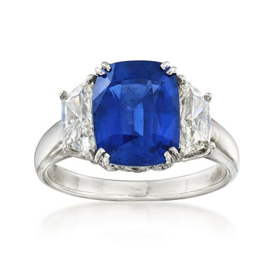 C. 2000 Vintage 5.34 Carat Sapphire and 1.10 ct. t.w. Diamond Ring in Platinum, , default