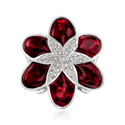 C. 1990 Vintage 18.60 ct. t.w. Garnet and .23 ct. t.w. Diamond Flower Ring in 18kt White Gold