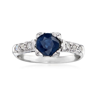 C. 1970 Vintage 1.20 Carat Sapphire and .15 ct. t.w. Diamond Ring in Platinum