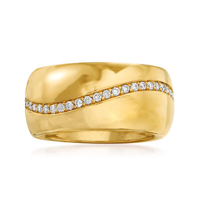 C. 1990 Vintage Bucherer .64 ct. t.w. Diamond Wave Ring in 18kt Yellow Gold