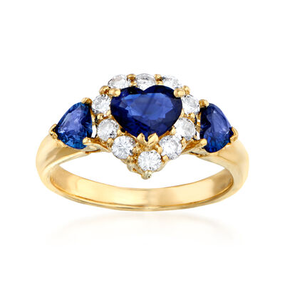 C. 1980 Vintage 1.42 ct. t.w. Sapphire and .46 ct. t.w. Diamond Heart Ring in 18kt Yellow Gold