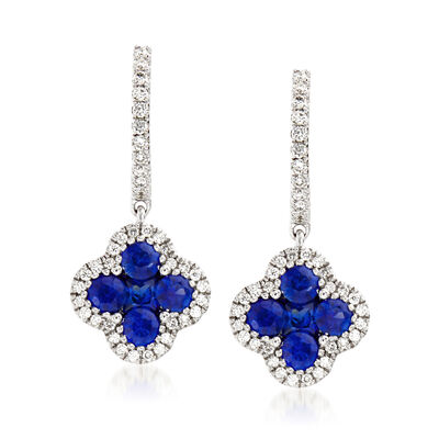 Gregg Ruth 1.02 ct. t.w. Sapphire and .26 ct. t.w. Diamond Drop Earrings in 18kt White Gold, , default