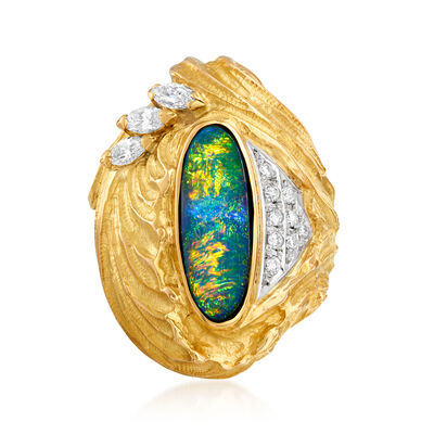 C. 1980 Vintage Black Opal and .44 ct. t.w. Diamond Ring in Platinum and 18kt Yellow Gold, , default