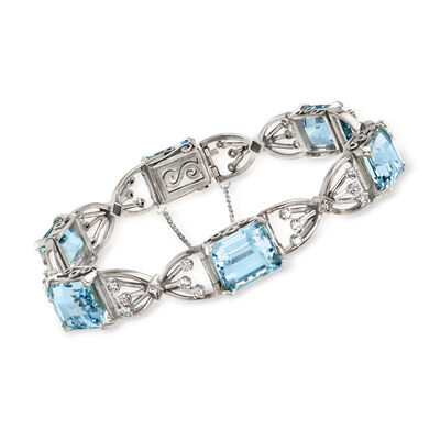 C. 1950 Vintage 26.70 ct. t.w. Aquamarine and 1.10 ct. t.w. Diamond Bracelet in 14kt White Gold