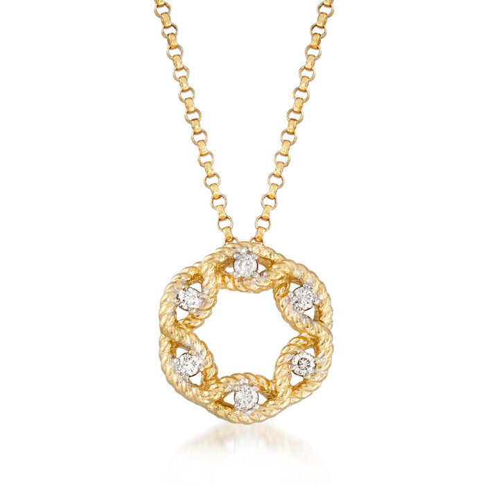 """Roberto Coin Barocco Diamond Accent Open Cluster Necklace in 18kt Yellow Gold. 16.25"""", , default"""