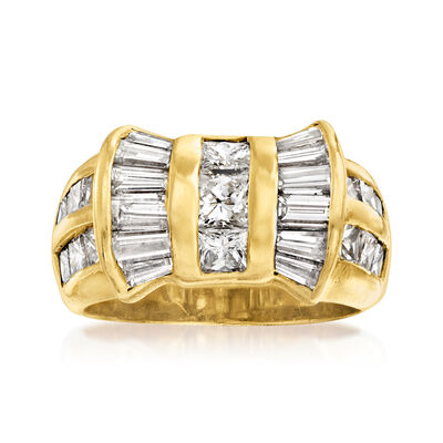 C. 1980 Vintage 2.50 ct. t.w. Baguette and Princess-Cut Diamond Ring in 18kt Yellow Gold