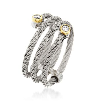 ALOR Classique Gray Stainless Steel Cable Coil Ring With Diamonds and 18-Karat Yellow Gold. Size 7, , default